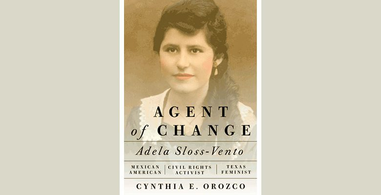 """Book cover of """"Agents of Change"""" with headshot of Adela Sloss Venm"""